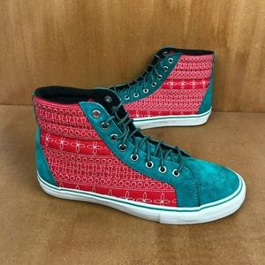 Vans Sk8-Hi Inca Flower Teal Red Suede Christmas